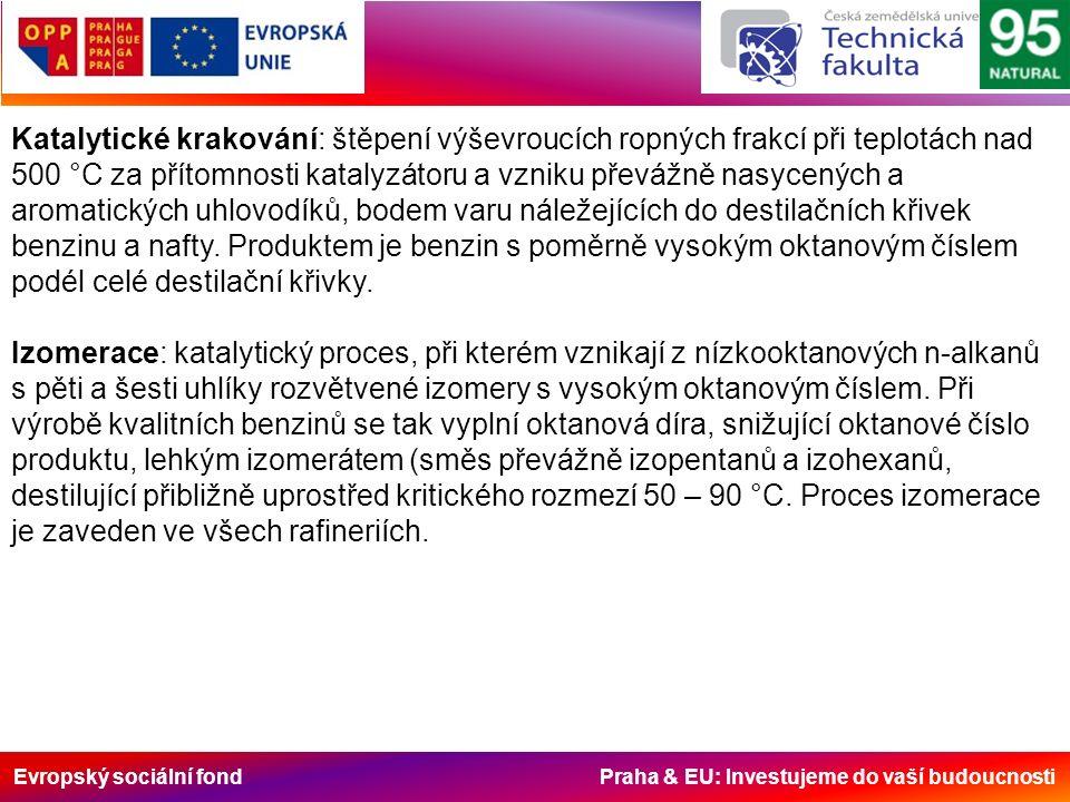 Evropský sociální fond Praha & EU: Investujeme do vaší budoucnosti Katalytické krakování: štěpení výševroucích ropných frakcí při teplotách nad 500 °C za přítomnosti katalyzátoru a vzniku převážně nasycených a aromatických uhlovodíků, bodem varu náležejících do destilačních křivek benzinu a nafty.