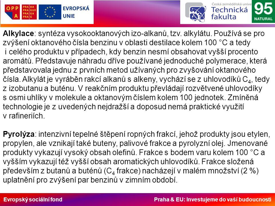 Evropský sociální fond Praha & EU: Investujeme do vaší budoucnosti Alkylace: syntéza vysokooktanových izo-alkanů, tzv.