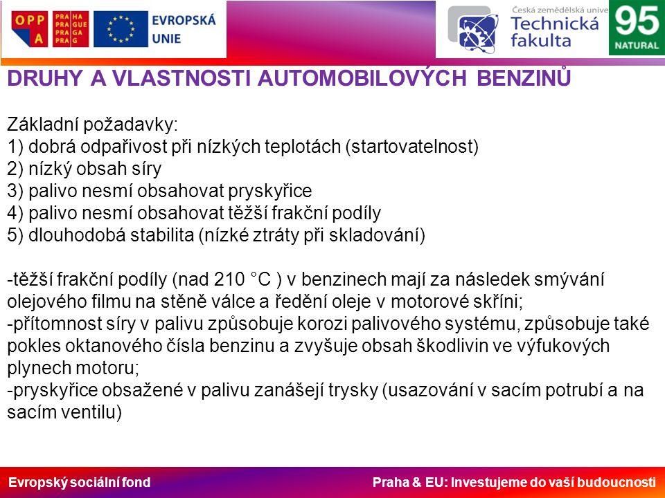Evropský sociální fond Praha & EU: Investujeme do vaší budoucnosti DRUHY A VLASTNOSTI AUTOMOBILOVÝCH BENZINŮ Základní požadavky: 1) dobrá odpařivost při nízkých teplotách (startovatelnost) 2) nízký obsah síry 3) palivo nesmí obsahovat pryskyřice 4) palivo nesmí obsahovat těžší frakční podíly 5) dlouhodobá stabilita (nízké ztráty při skladování) -těžší frakční podíly (nad 210 °C ) v benzinech mají za následek smývání olejového filmu na stěně válce a ředění oleje v motorové skříni; -přítomnost síry v palivu způsobuje korozi palivového systému, způsobuje také pokles oktanového čísla benzinu a zvyšuje obsah škodlivin ve výfukových plynech motoru; -pryskyřice obsažené v palivu zanášejí trysky (usazování v sacím potrubí a na sacím ventilu)