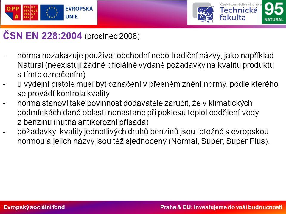 Evropský sociální fond Praha & EU: Investujeme do vaší budoucnosti ČSN EN 228:2004 (prosinec 2008) -norma nezakazuje používat obchodní nebo tradiční názvy, jako například Natural (neexistují žádné oficiálně vydané požadavky na kvalitu produktu s tímto označením) -u výdejní pistole musí být označení v přesném znění normy, podle kterého se provádí kontrola kvality -norma stanoví také povinnost dodavatele zaručit, že v klimatických podmínkách dané oblasti nenastane při poklesu teplot oddělení vody z benzinu (nutná antikorozní přísada) -požadavky kvality jednotlivých druhů benzinů jsou totožné s evropskou normou a jejich názvy jsou též sjednoceny (Normal, Super, Super Plus).