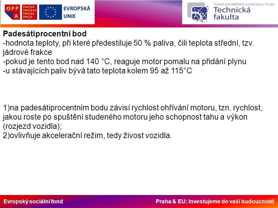 Evropský sociální fond Praha & EU: Investujeme do vaší budoucnosti Padesátiprocentní bod -hodnota teploty, při které předestiluje 50 % paliva, čili teplota střední, tzv.
