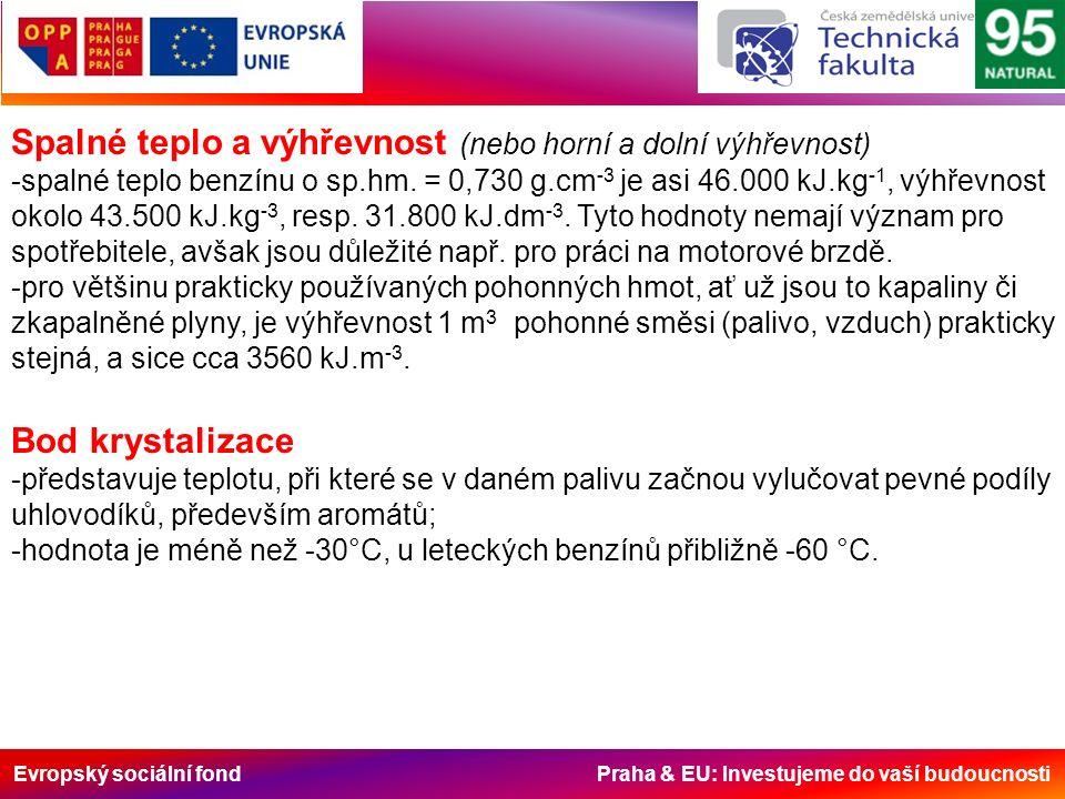 Evropský sociální fond Praha & EU: Investujeme do vaší budoucnosti Spalné teplo a výhřevnost (nebo horní a dolní výhřevnost) -spalné teplo benzínu o sp.hm.