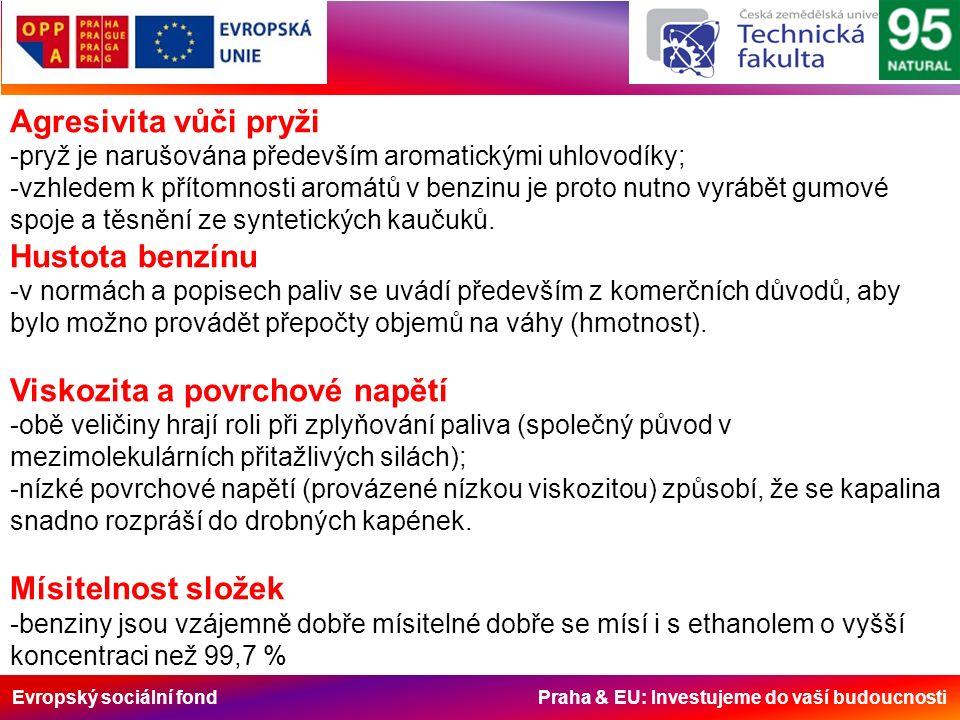 Evropský sociální fond Praha & EU: Investujeme do vaší budoucnosti Agresivita vůči pryži -pryž je narušována především aromatickými uhlovodíky; -vzhledem k přítomnosti aromátů v benzinu je proto nutno vyrábět gumové spoje a těsnění ze syntetických kaučuků.