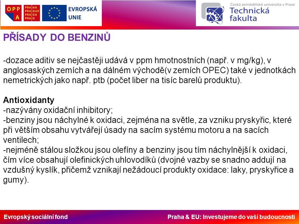 Evropský sociální fond Praha & EU: Investujeme do vaší budoucnosti PŘÍSADY DO BENZINŮ -dozace aditiv se nejčastěji udává v ppm hmotnostních (např.