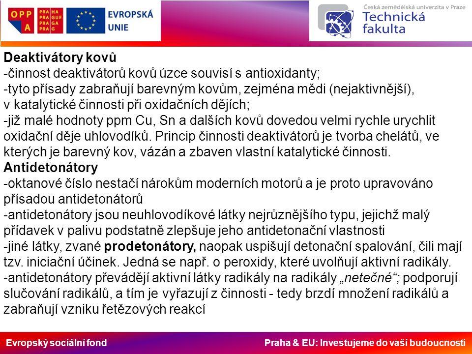 Evropský sociální fond Praha & EU: Investujeme do vaší budoucnosti Deaktivátory kovů -činnost deaktivátorů kovů úzce souvisí s antioxidanty; -tyto přísady zabraňují barevným kovům, zejména mědi (nejaktivnější), v katalytické činnosti při oxidačních dějích; -již malé hodnoty ppm Cu, Sn a dalších kovů dovedou velmi rychle urychlit oxidační děje uhlovodíků.