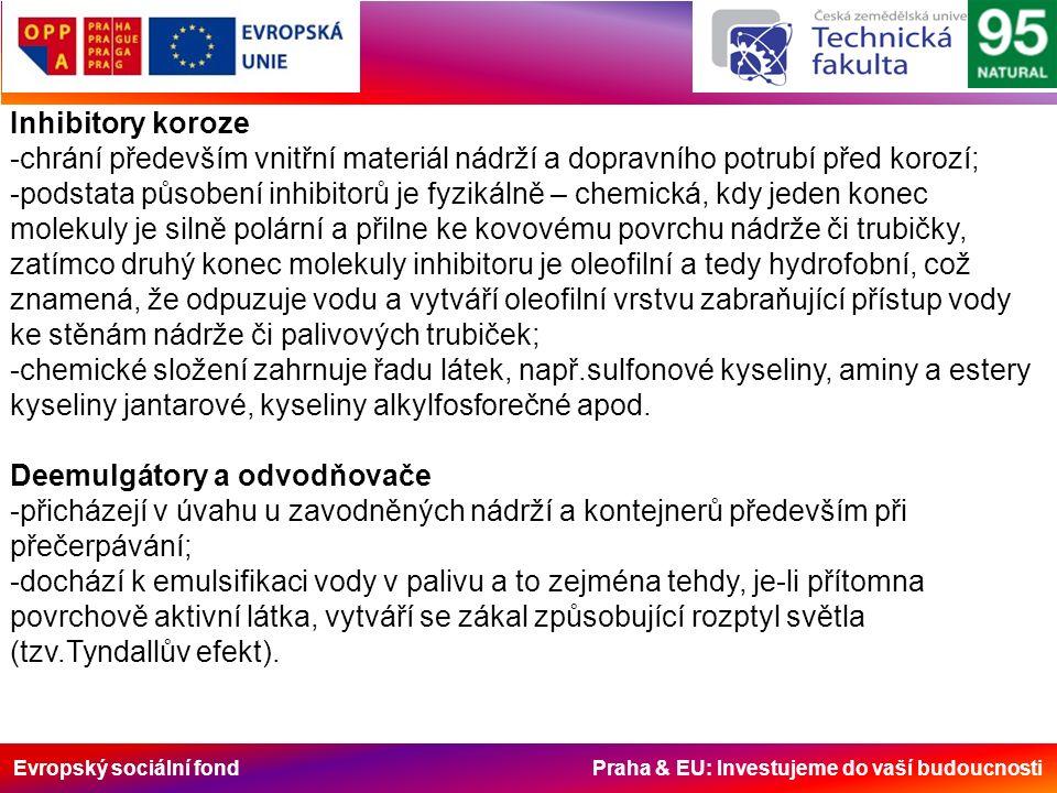 Evropský sociální fond Praha & EU: Investujeme do vaší budoucnosti Inhibitory koroze -chrání především vnitřní materiál nádrží a dopravního potrubí před korozí; -podstata působení inhibitorů je fyzikálně – chemická, kdy jeden konec molekuly je silně polární a přilne ke kovovému povrchu nádrže či trubičky, zatímco druhý konec molekuly inhibitoru je oleofilní a tedy hydrofobní, což znamená, že odpuzuje vodu a vytváří oleofilní vrstvu zabraňující přístup vody ke stěnám nádrže či palivových trubiček; -chemické složení zahrnuje řadu látek, např.sulfonové kyseliny, aminy a estery kyseliny jantarové, kyseliny alkylfosforečné apod.