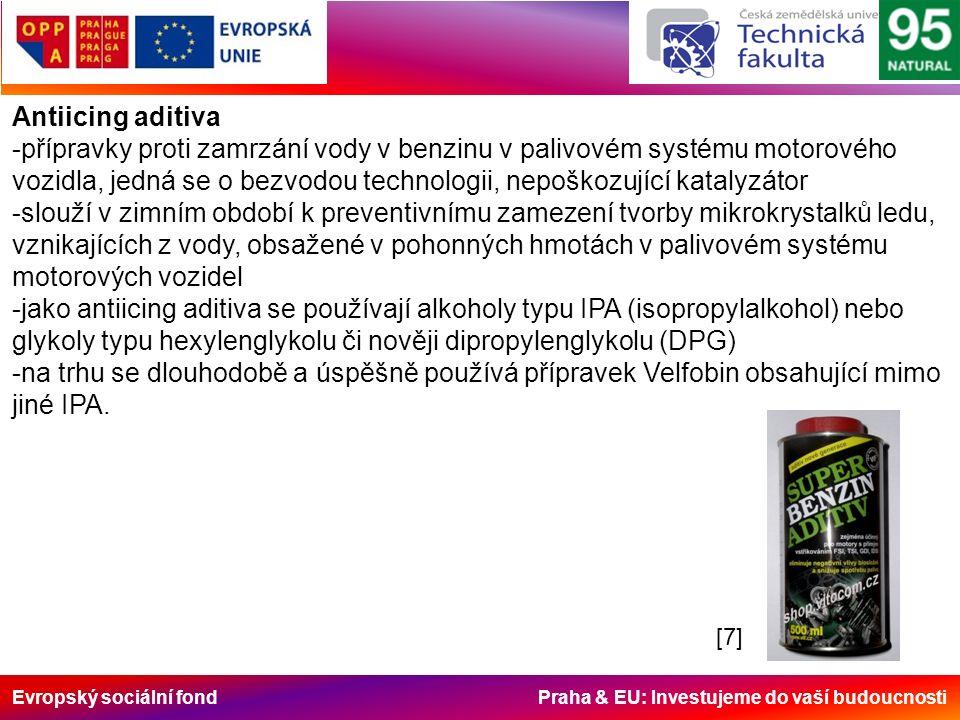 Evropský sociální fond Praha & EU: Investujeme do vaší budoucnosti Antiicing aditiva -přípravky proti zamrzání vody v benzinu v palivovém systému motorového vozidla, jedná se o bezvodou technologii, nepoškozující katalyzátor -slouží v zimním období k preventivnímu zamezení tvorby mikrokrystalků ledu, vznikajících z vody, obsažené v pohonných hmotách v palivovém systému motorových vozidel -jako antiicing aditiva se používají alkoholy typu IPA (isopropylalkohol) nebo glykoly typu hexylenglykolu či nověji dipropylenglykolu (DPG) -na trhu se dlouhodobě a úspěšně používá přípravek Velfobin obsahující mimo jiné IPA.