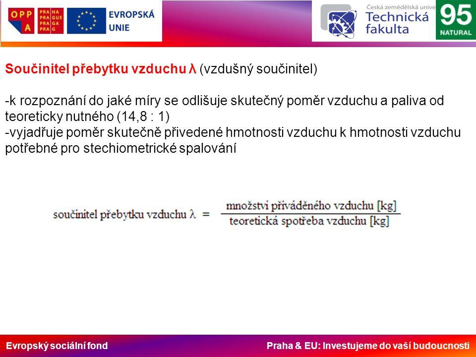 Evropský sociální fond Praha & EU: Investujeme do vaší budoucnosti Součinitel přebytku vzduchu λ (vzdušný součinitel) -k rozpoznání do jaké míry se odlišuje skutečný poměr vzduchu a paliva od teoreticky nutného (14,8 : 1) -vyjadřuje poměr skutečně přivedené hmotnosti vzduchu k hmotnosti vzduchu potřebné pro stechiometrické spalování