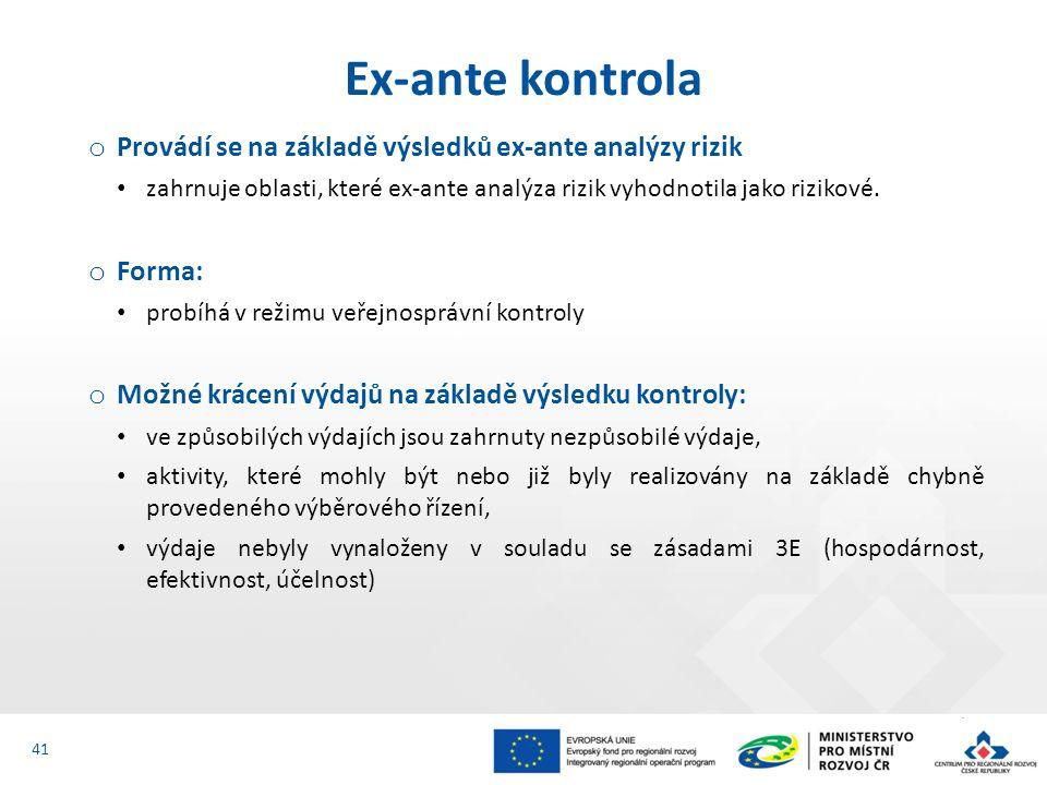 o Provádí se na základě výsledků ex-ante analýzy rizik zahrnuje oblasti, které ex-ante analýza rizik vyhodnotila jako rizikové.