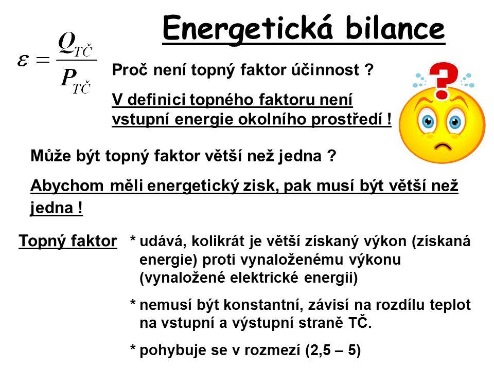 Energetická bilance Proč není topný faktor účinnost ? V definici topného faktoru není vstupní energie okolního prostředí ! Topný faktor *udává, kolikr