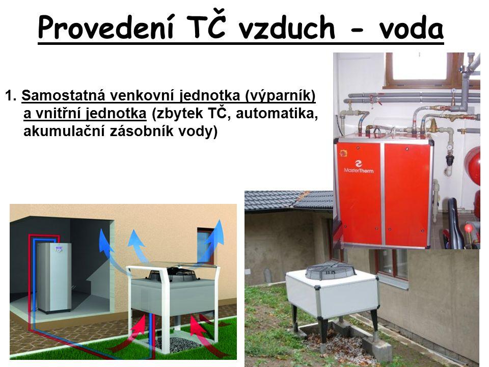 Provedení TČ vzduch - voda 1. Samostatná venkovní jednotka (výparník) a vnitřní jednotka (zbytek TČ, automatika, akumulační zásobník vody)