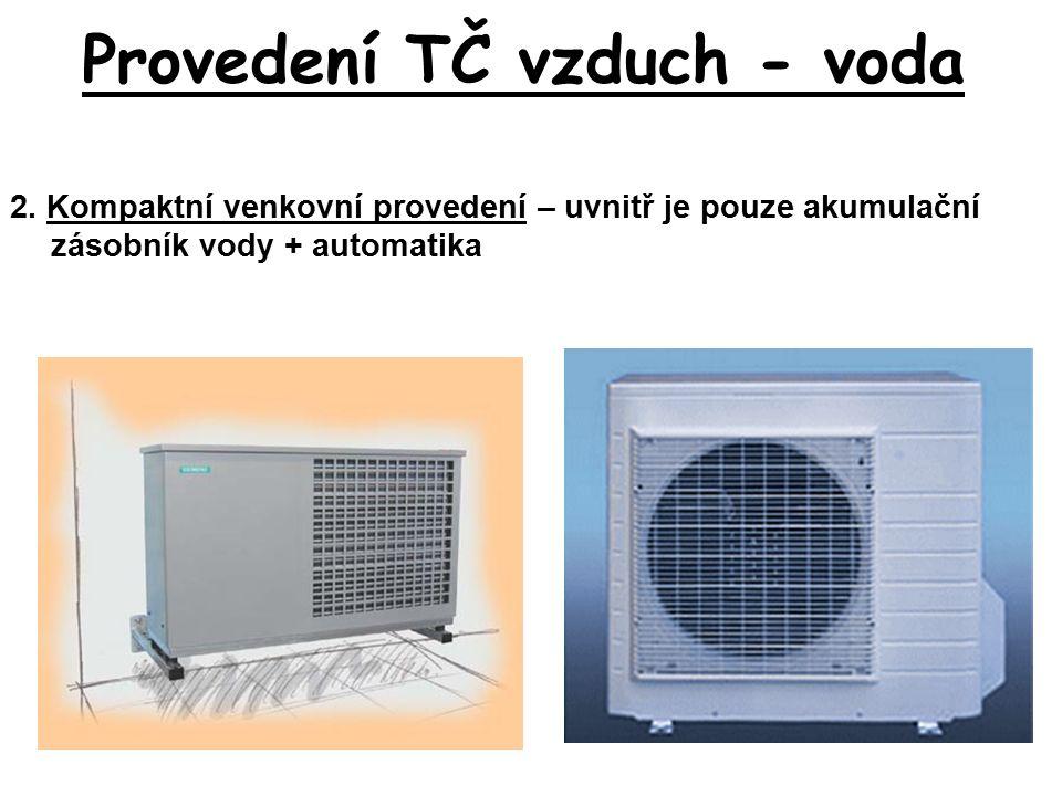 Provedení TČ vzduch - voda 2. Kompaktní venkovní provedení – uvnitř je pouze akumulační zásobník vody + automatika