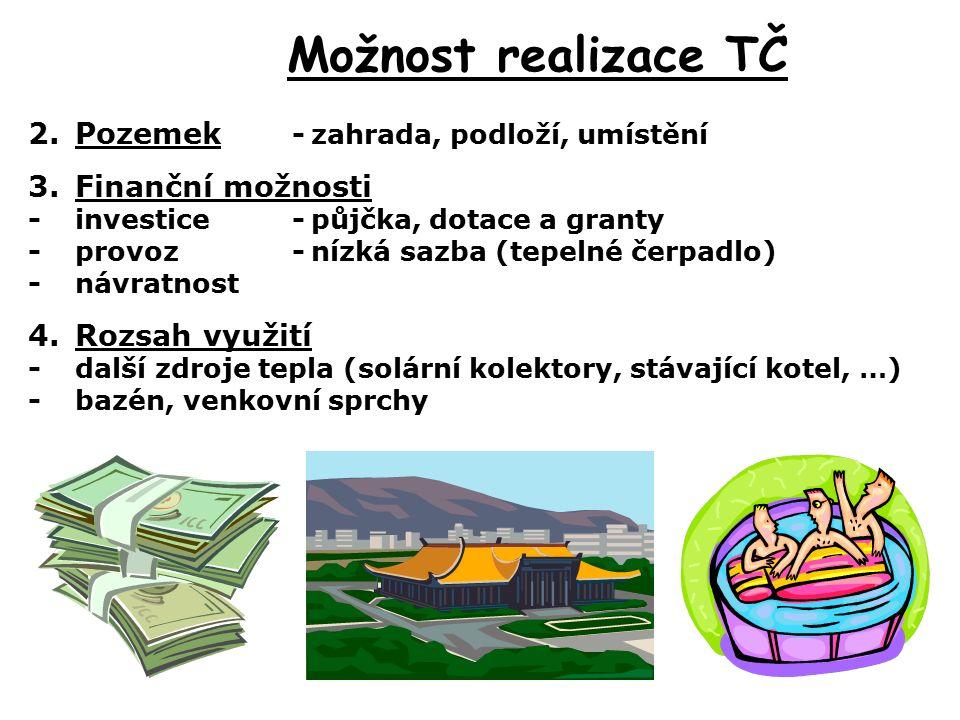 Možnost realizace TČ 2.Pozemek -zahrada, podloží, umístění 3.Finanční možnosti -investice -půjčka, dotace a granty -provoz-nízká sazba (tepelné čerpadlo) -návratnost 4.Rozsah využití -další zdroje tepla (solární kolektory, stávající kotel, …) -bazén, venkovní sprchy