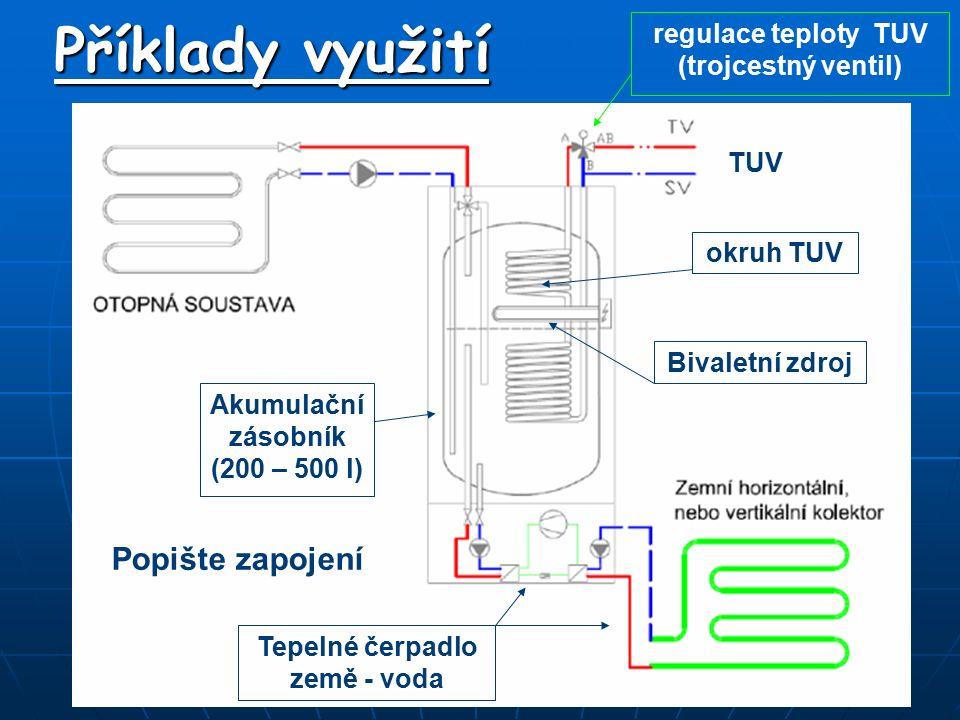 Příklady využití Bivaletní zdroj okruh TUV Tepelné čerpadlo země - voda TUV Akumulační zásobník (200 – 500 l) Popište zapojení regulace teploty TUV (t