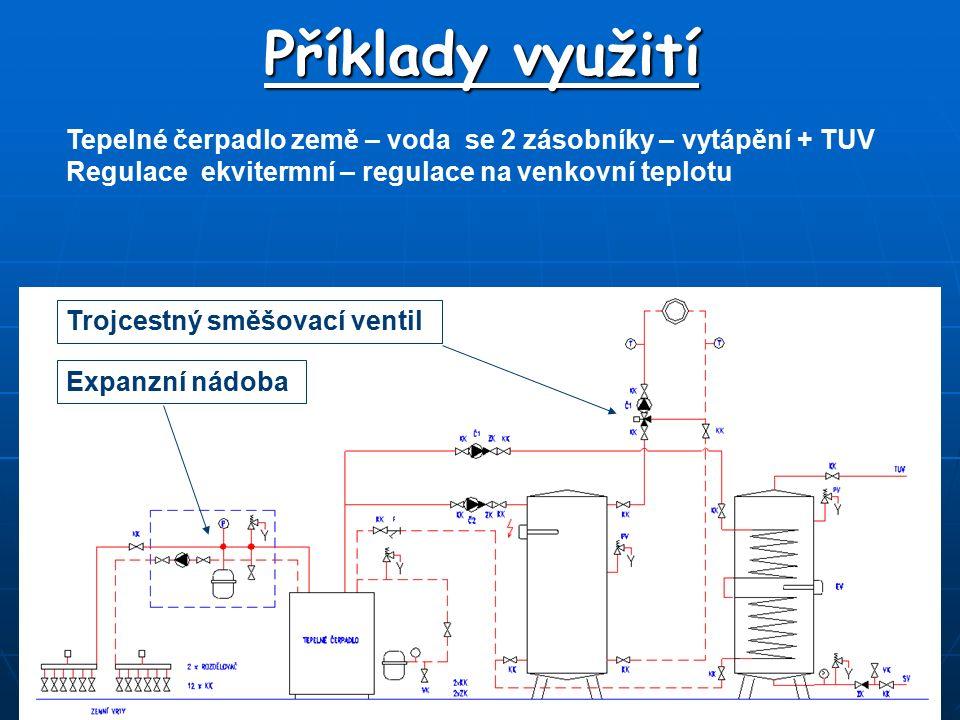 Příklady využití Tepelné čerpadlo země – voda se 2 zásobníky – vytápění + TUV Regulace ekvitermní – regulace na venkovní teplotu Trojcestný směšovací ventil Expanzní nádoba