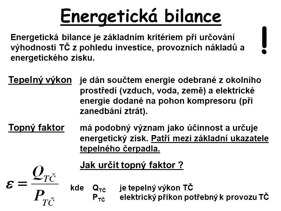 Energetická bilance Energetická bilance je základním kritériem při určování výhodnosti TČ z pohledu investice, provozních nákladů a energetického zisku.