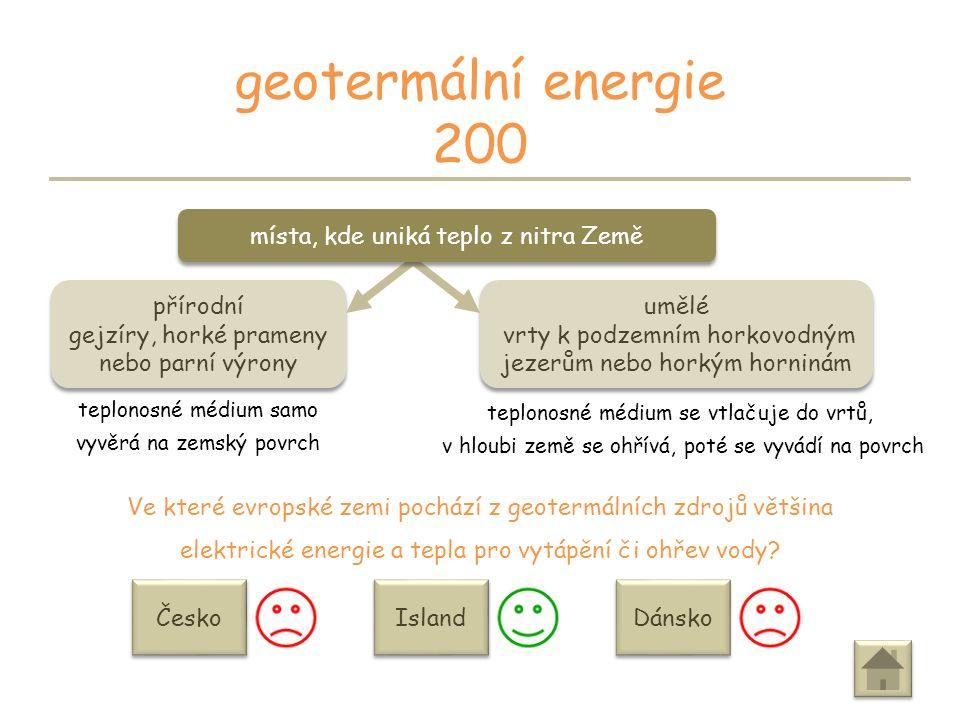 PRÉMIE geotermální energie 100 získáváte 100 bodů