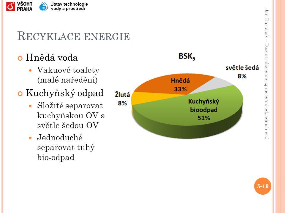 Jan Bartáček – Decentralizované zpracování odpadních vod Ústav technologie vody a prostředí R ECYKLACE ENERGIE Hnědá voda Vakuové toalety (malé naředění) Kuchyňský odpad Složité separovat kuchyňskou OV a světle šedou OV Jednoduché separovat tuhý bio-odpad 5-19