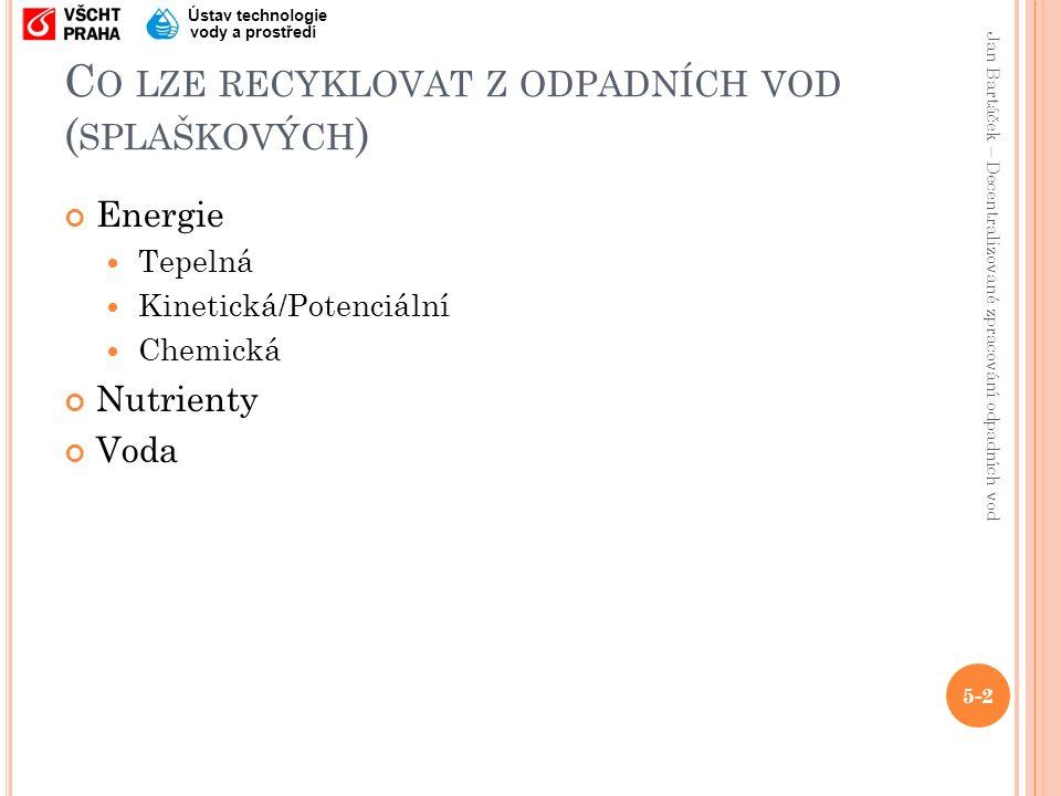 Jan Bartáček – Decentralizované zpracování odpadních vod Ústav technologie vody a prostředí R ECYKLACE ENERGIE ( HNĚDÁ / ČERNÁ VODA ) Anaerobní fermentace x Aerobní čištění 5-23