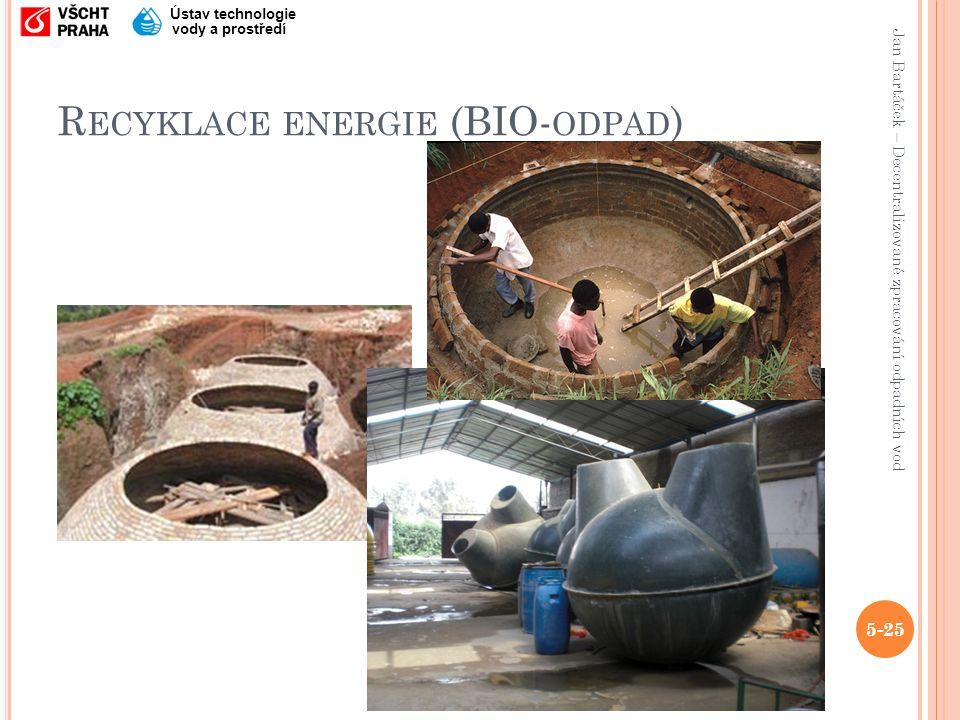 Jan Bartáček – Decentralizované zpracování odpadních vod Ústav technologie vody a prostředí R ECYKLACE ENERGIE (BIO- ODPAD ) 5-25
