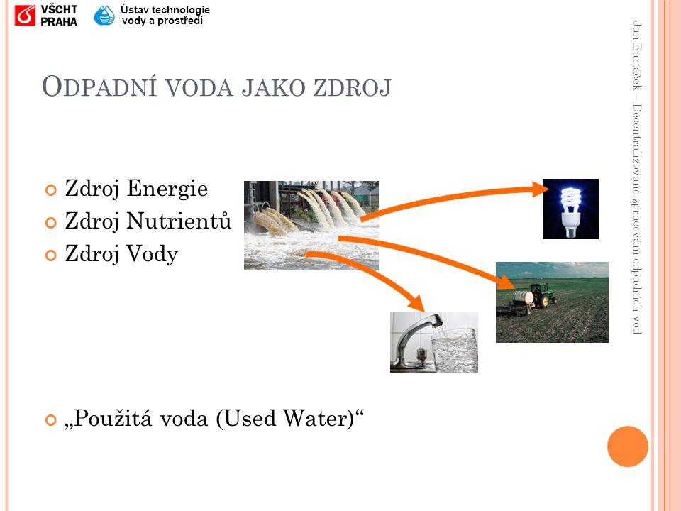 Jan Bartáček – Decentralizované zpracování odpadních vod Ústav technologie vody a prostředí E NERGIE OBSAŽENÁ V ODPADNÍCH VODÁCH Tepelná energie Kinetická a potenciální energie Chemická energie