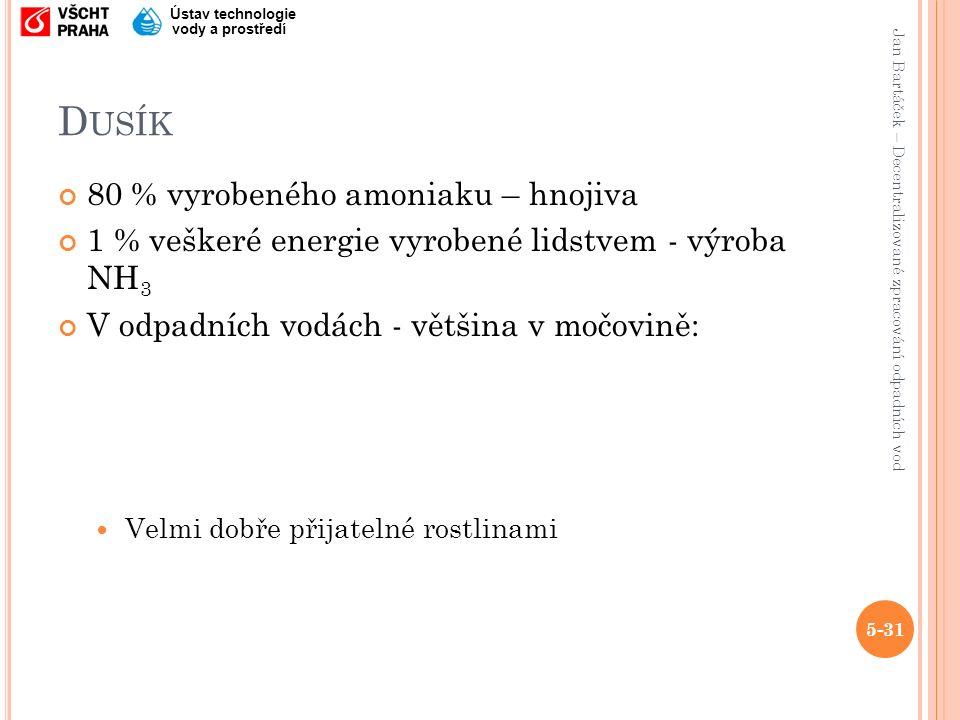 Jan Bartáček – Decentralizované zpracování odpadních vod Ústav technologie vody a prostředí D USÍK 80 % vyrobeného amoniaku – hnojiva 1 % veškeré energie vyrobené lidstvem - výroba NH 3 V odpadních vodách - většina v močovině: Velmi dobře přijatelné rostlinami 5-31
