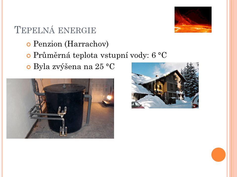 Penzion (Harrachov) Průměrná teplota vstupní vody: 6 °C Byla zvýšena na 25 °C