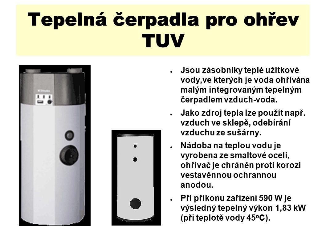 Tepelná čerpadla pro ohřev TUV ● Jsou zásobníky teplé užitkové vody,ve kterých je voda ohřívána malým integrovaným tepelným čerpadlem vzduch-voda.