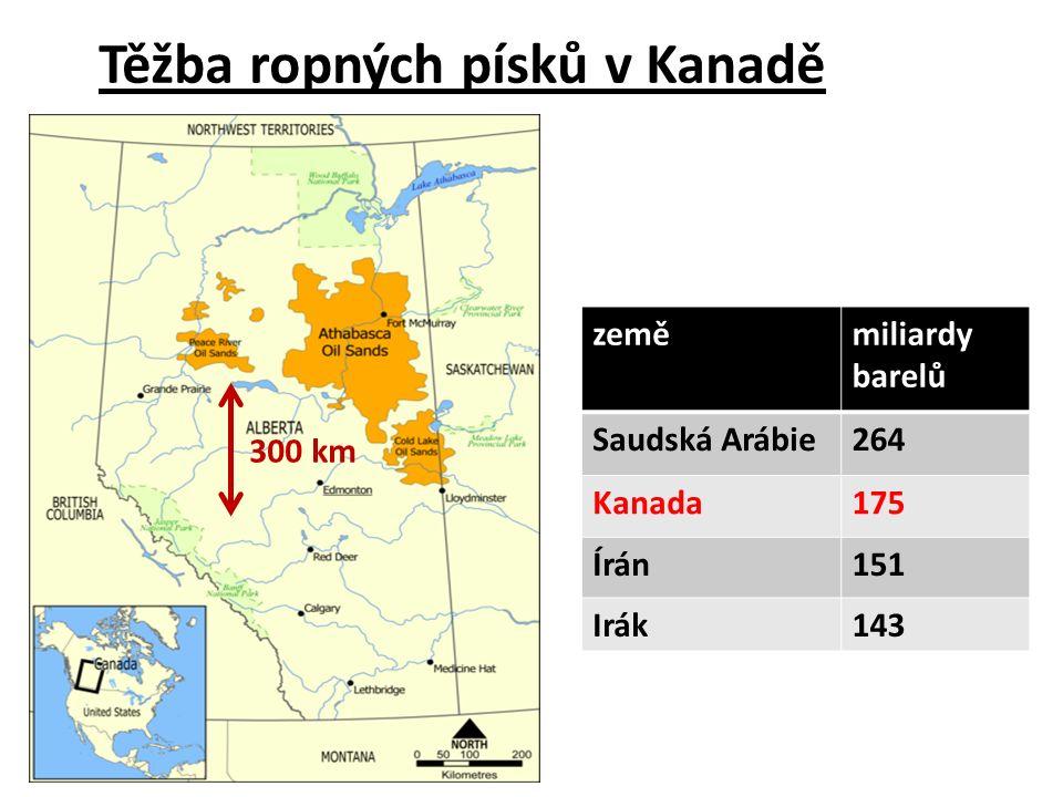300 km zeměmiliardy barelů Saudská Arábie264 Kanada175 Írán151 Irák143 Těžba ropných písků v Kanadě