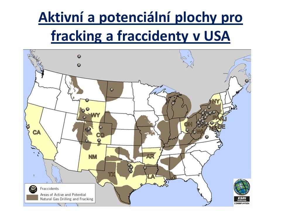 Aktivní a potenciální plochy pro fracking a fraccidenty v USA