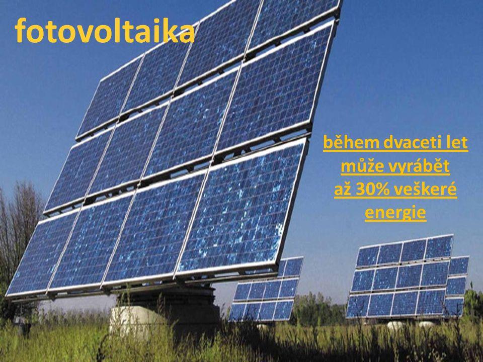během dvaceti let může vyrábět až 30% veškeré energie fotovoltaika