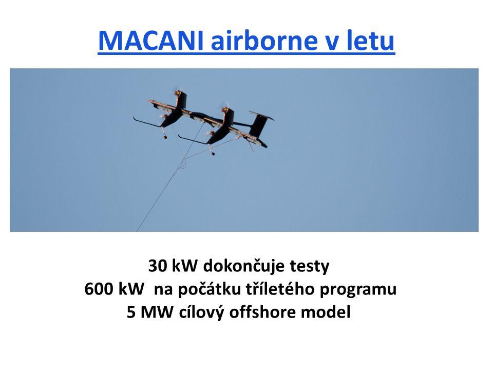 MACANI airborne v letu 30 kW dokončuje testy 600 kW na počátku tříletého programu 5 MW cílový offshore model