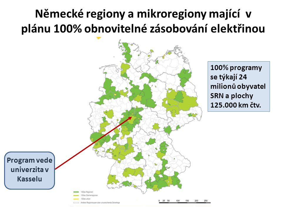 Německé regiony a mikroregiony mající v plánu 100% obnovitelné zásobování elektřinou Program vede univerzita v Kasselu 100% programy se týkají 24 milionů obyvatel SRN a plochy 125.000 km čtv.