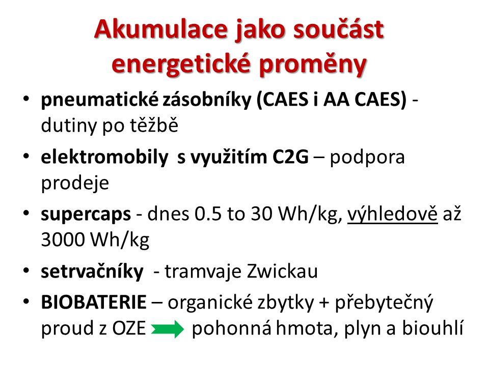 Akumulace jako součást energetické proměny pneumatické zásobníky (CAES i AA CAES) - dutiny po těžbě elektromobily s využitím C2G – podpora prodeje supercaps - dnes 0.5 to 30 Wh/kg, výhledově až 3000 Wh/kg setrvačníky - tramvaje Zwickau BIOBATERIE – organické zbytky + přebytečný proud z OZE pohonná hmota, plyn a biouhlí