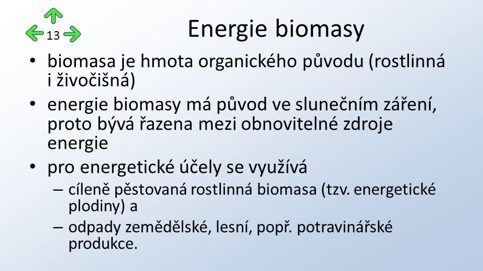 biomasa je hmota organického původu (rostlinná i živočišná) energie biomasy má původ ve slunečním záření, proto bývá řazena mezi obnovitelné zdroje energie pro energetické účely se využívá – cíleně pěstovaná rostlinná biomasa (tzv.