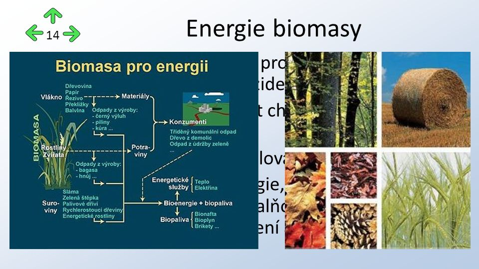 biomasa může být využita pro výrobu elektřiny a může sloužit k pohonu vozidel energii z biomasy lze získat chemickými, popř.