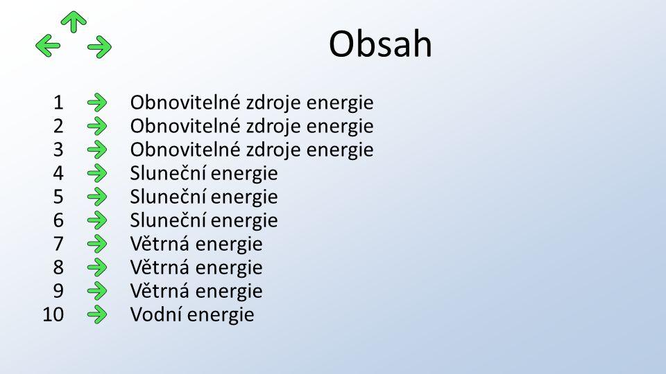Obsah Obnovitelné zdroje energie1 2 3 Sluneční energie4 5 6 Větrná energie7 8 9 Vodní energie10