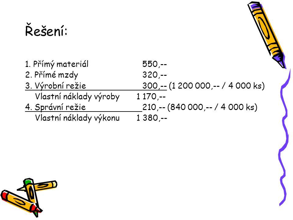 Řešení: 1. Přímý materiál550,-- 2. Přímé mzdy320,-- 3. Výrobní režie300,-- (1 200 000,-- / 4 000 ks) Vlastní náklady výroby 1 170,-- 4. Správní režie