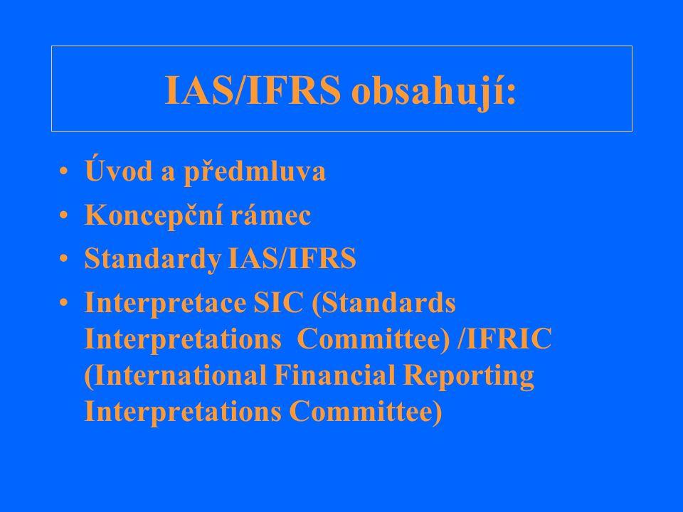IAS/IFRS obsahují: Úvod a předmluva Koncepční rámec Standardy IAS/IFRS Interpretace SIC (Standards Interpretations Committee) /IFRIC (International Fi