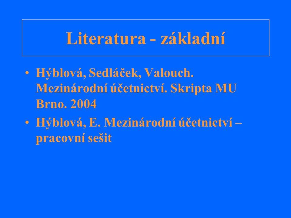 Literatura - doplňující Krupová, Vašek, Černý.IAS/IFRS.