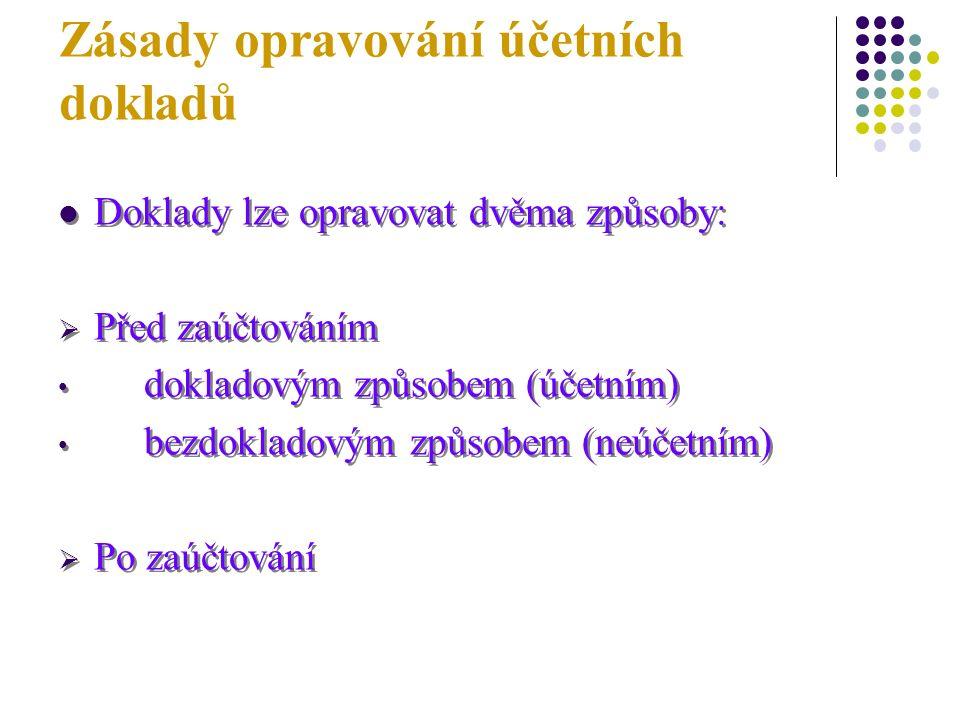 Zásady opravování účetních dokladů Doklady lze opravovat dvěma způsoby:  Před zaúčtováním dokladovým způsobem (účetním) bezdokladovým způsobem (neúčetním)  Po zaúčtování Doklady lze opravovat dvěma způsoby:  Před zaúčtováním dokladovým způsobem (účetním) bezdokladovým způsobem (neúčetním)  Po zaúčtování