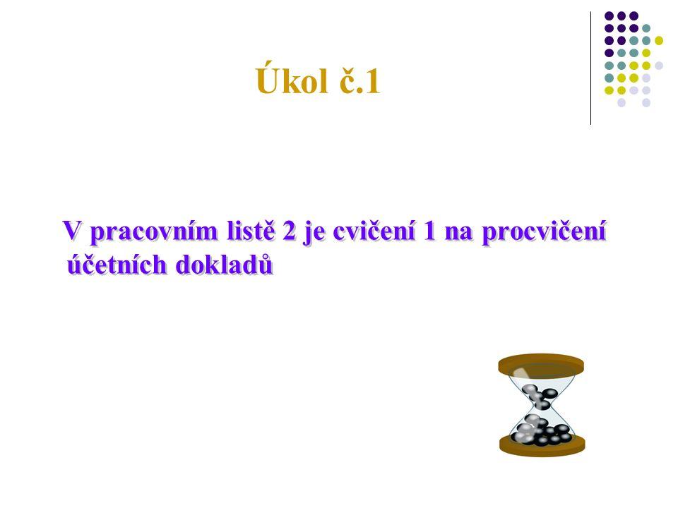 Náležitosti účetních dokladů 1.Označení účetního dokladu.