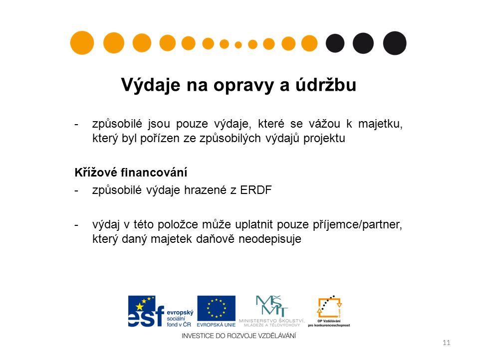 Výdaje na opravy a údržbu -způsobilé jsou pouze výdaje, které se vážou k majetku, který byl pořízen ze způsobilých výdajů projektu Křížové financování -způsobilé výdaje hrazené z ERDF -výdaj v této položce může uplatnit pouze příjemce/partner, který daný majetek daňově neodepisuje 11