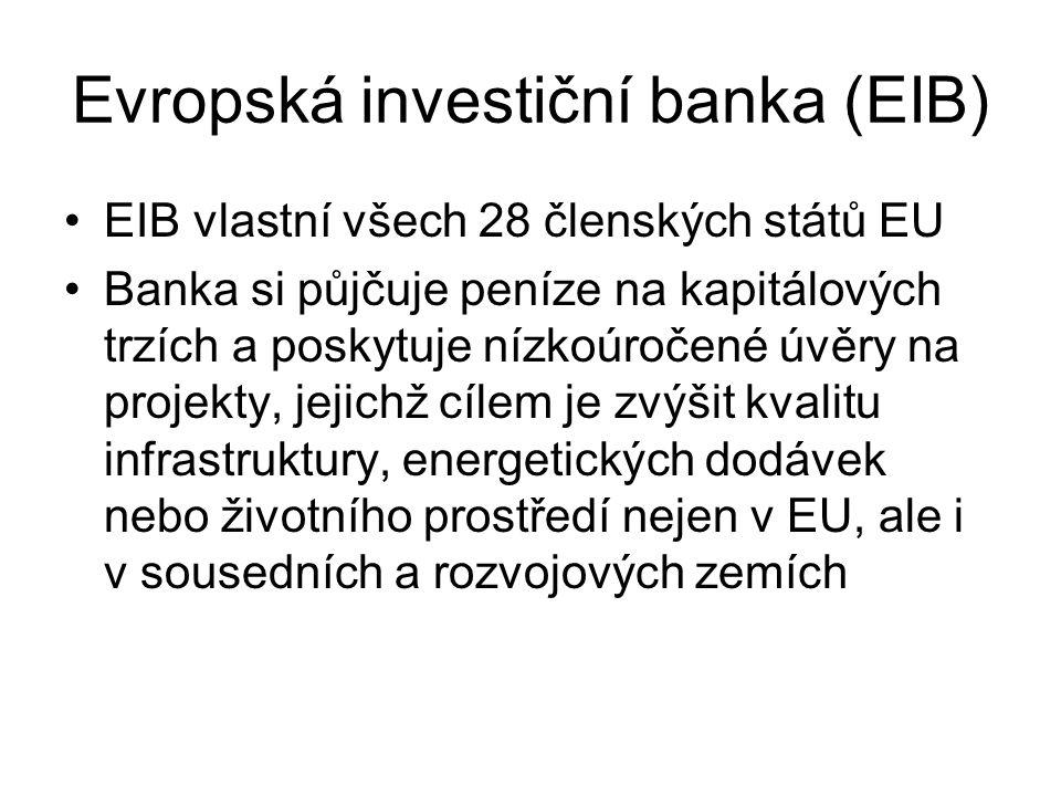 Evropská investiční banka (EIB) EIB vlastní všech 28 členských států EU Banka si půjčuje peníze na kapitálových trzích a poskytuje nízkoúročené úvěry