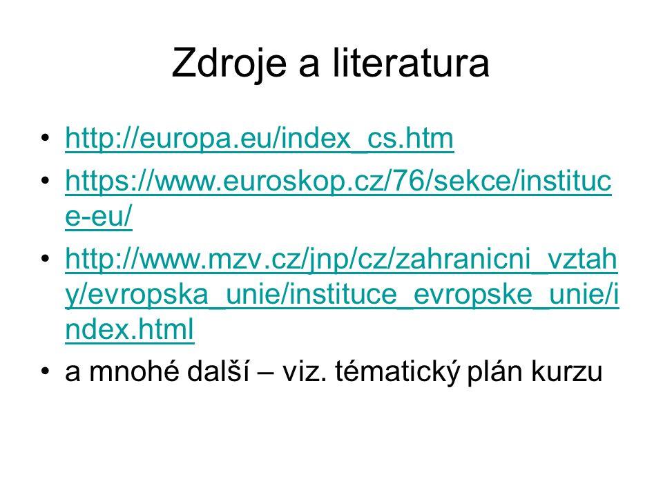 Zdroje a literatura http://europa.eu/index_cs.htm https://www.euroskop.cz/76/sekce/instituc e-eu/https://www.euroskop.cz/76/sekce/instituc e-eu/ http: