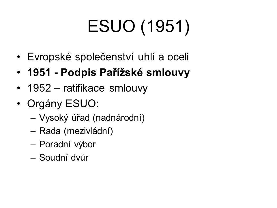 ESUO (1951) Evropské společenství uhlí a oceli 1951 - Podpis Pařížské smlouvy 1952 – ratifikace smlouvy Orgány ESUO: –Vysoký úřad (nadnárodní) –Rada (