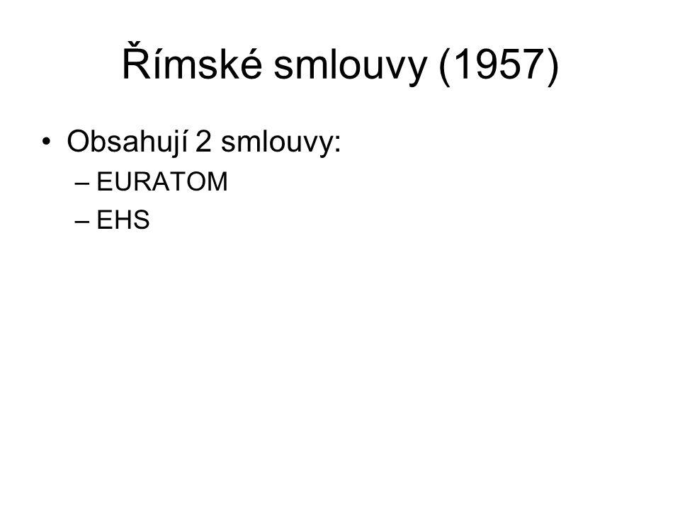 Římské smlouvy (1957) Obsahují 2 smlouvy: –EURATOM –EHS