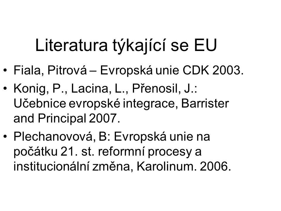 Literatura týkající se EU Fiala, Pitrová – Evropská unie CDK 2003. Konig, P., Lacina, L., Přenosil, J.: Učebnice evropské integrace, Barrister and Pri