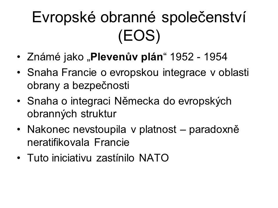 """Evropské obranné společenství (EOS) Známé jako """"Plevenův plán"""" 1952 - 1954 Snaha Francie o evropskou integrace v oblasti obrany a bezpečnosti Snaha o"""