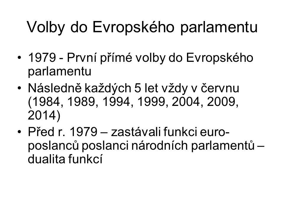 Volby do Evropského parlamentu 1979 - První přímé volby do Evropského parlamentu Následně každých 5 let vždy v červnu (1984, 1989, 1994, 1999, 2004, 2